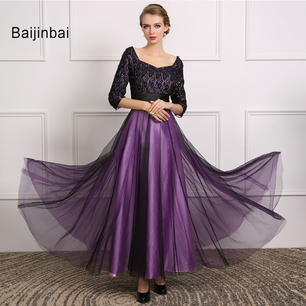Popular Purple Evening Dresses with Sleeves-Buy Cheap Purple ...