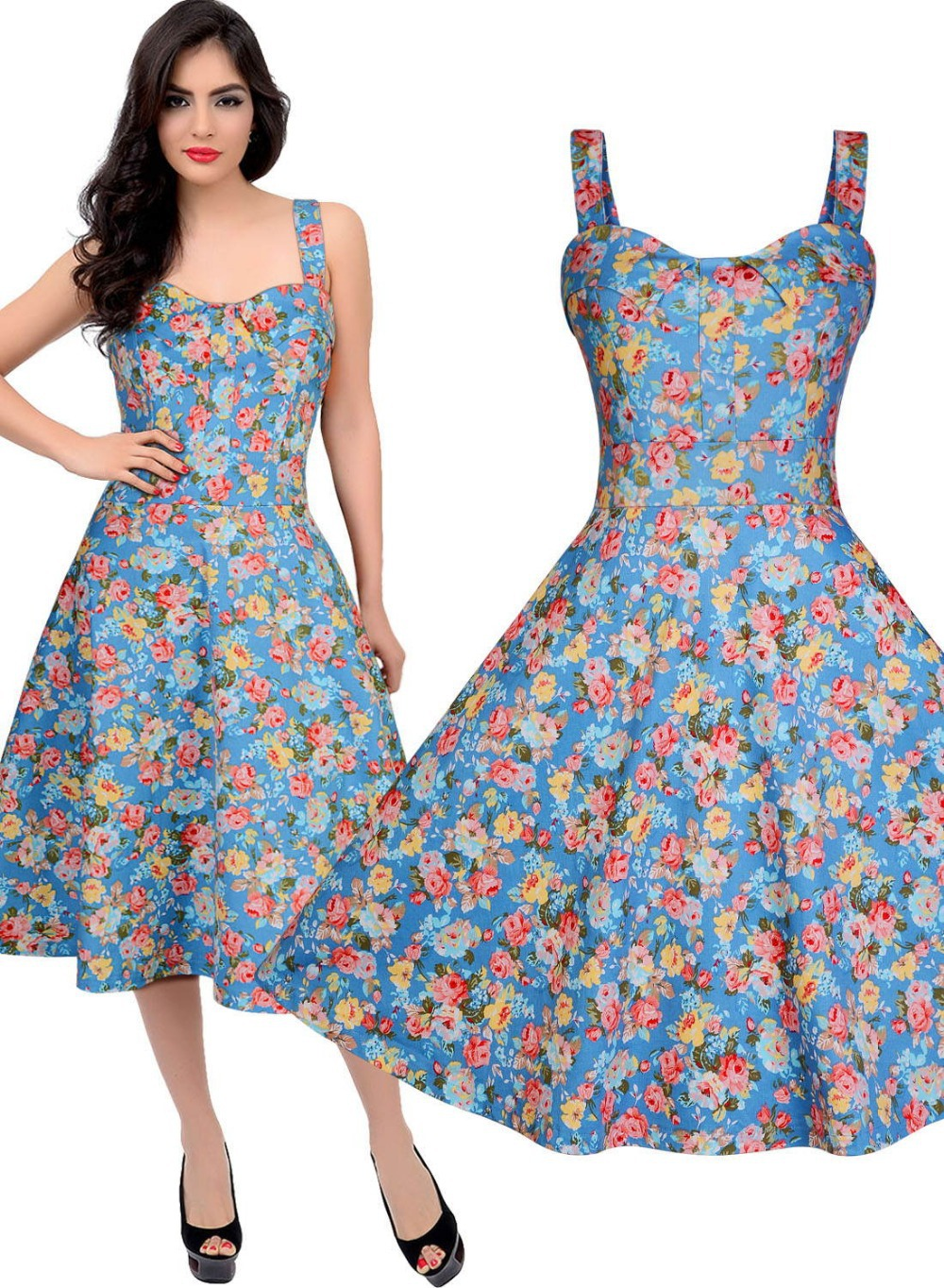 Free shipping Women\'s 1940s 1950s Vintage Style Rocabilly Floral ...