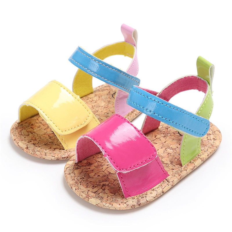 2017 Summer Baby Girl Rainbow Sandals PU Leather Shoes Soft Sole Princess Shoes Casual Walkers Footwear