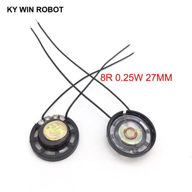 Bocina ultrafina para coche de juguete, 8 ohmios, 0,25 vatios, 0,25 W, 8R, diámetro de altavoz, 27MM, 2,7 CM, con alambre, 2 unids/lote