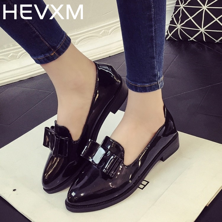HEVXM Bow Small Shoes Spring And Autumn New Fashion England Retro Women Flat Shoes Low Heel Shallow Mouth Female Casual Shoes ym 2018 eu 35 40 spring autumn new fashion casual bow tie womens flat shoes woman shallow peas shoes ladies girls zapatos mujer