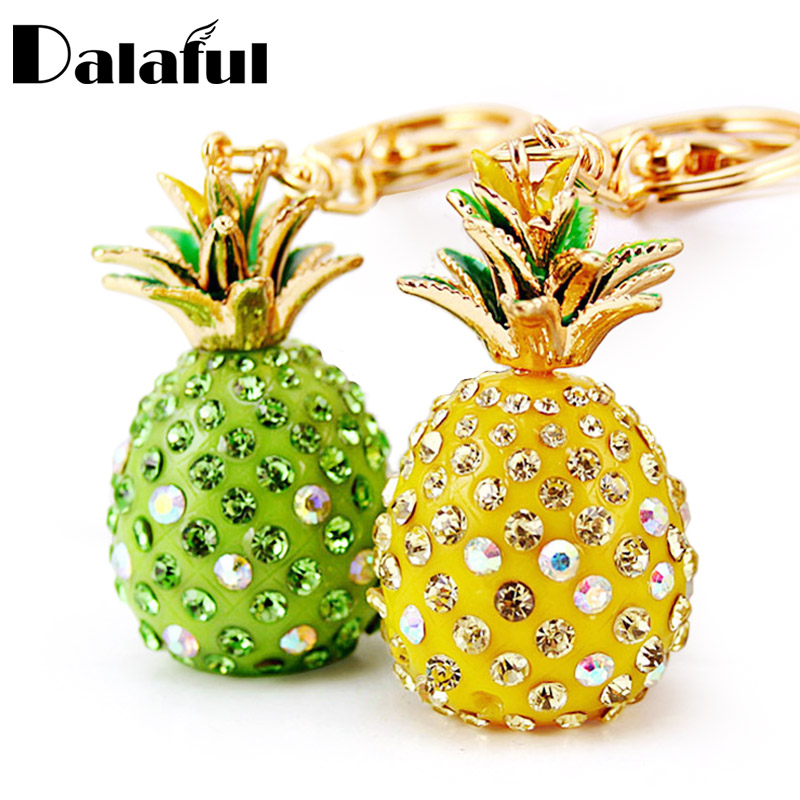 Dalaful Tropical Fruit Pineapple Crystal Keychains Purse Bag Pendant For Car Keyrings High-grade Gift Key Chains Holder K231