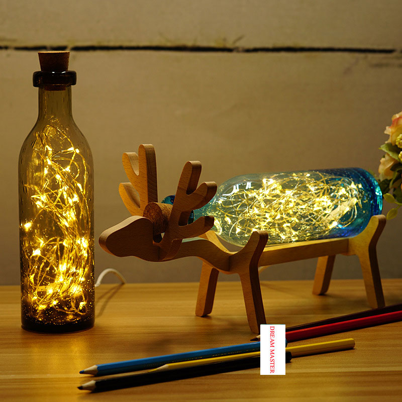 2017 new creative handmade glass elk lamp birthday gift holiday gift night light for Christmas for party mipow btl300 creative led light bluetooth aromatherapy flameless candle voice control lamp holiday party decoration gift