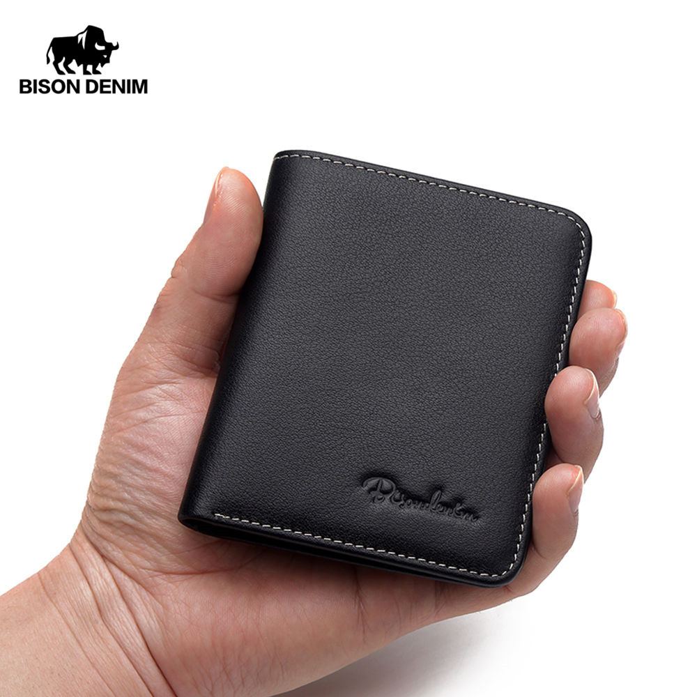 BISON DENIM Black Purse For Men Genuine Leather Men's Wallets Thin Male Wallet Card Holder Cowskin Soft Mini Purses N4429
