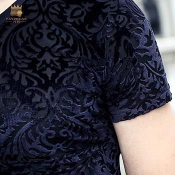 fashion casual New T shirt slim Flocking Flocking Embroidery T-shirt short sleeve