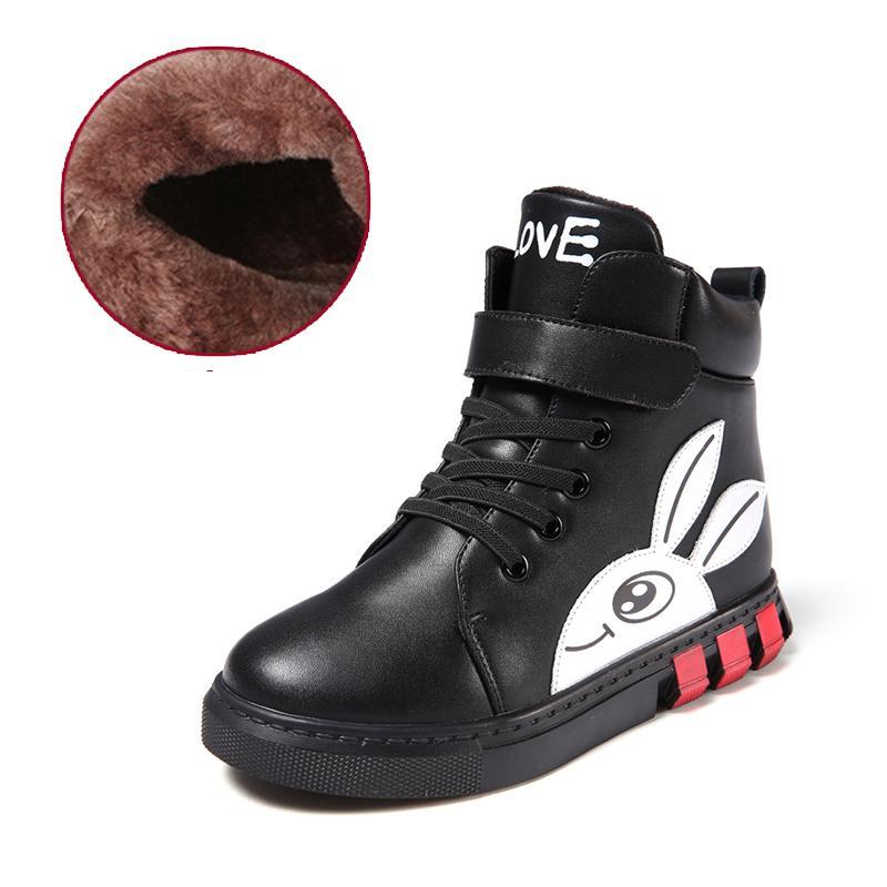 Осенне-зимние кроссовки для мальчиков и девочек, детские кроссовки, ботинки martin для мальчиков и девочек, кожаные ботинки ручной работы, детская обувь для малышей - Цвет: Black