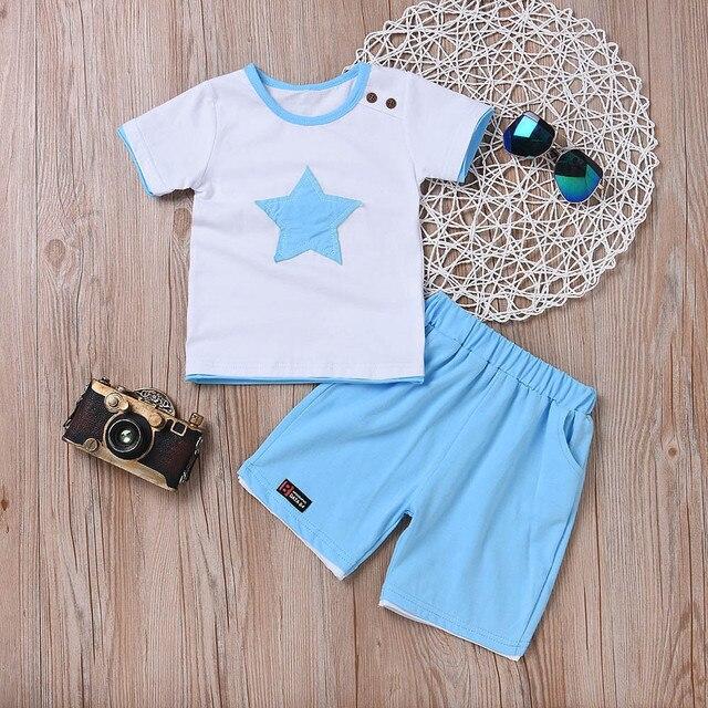 Newborn baby boys clothing set five-star t-shirt and short 2pc set