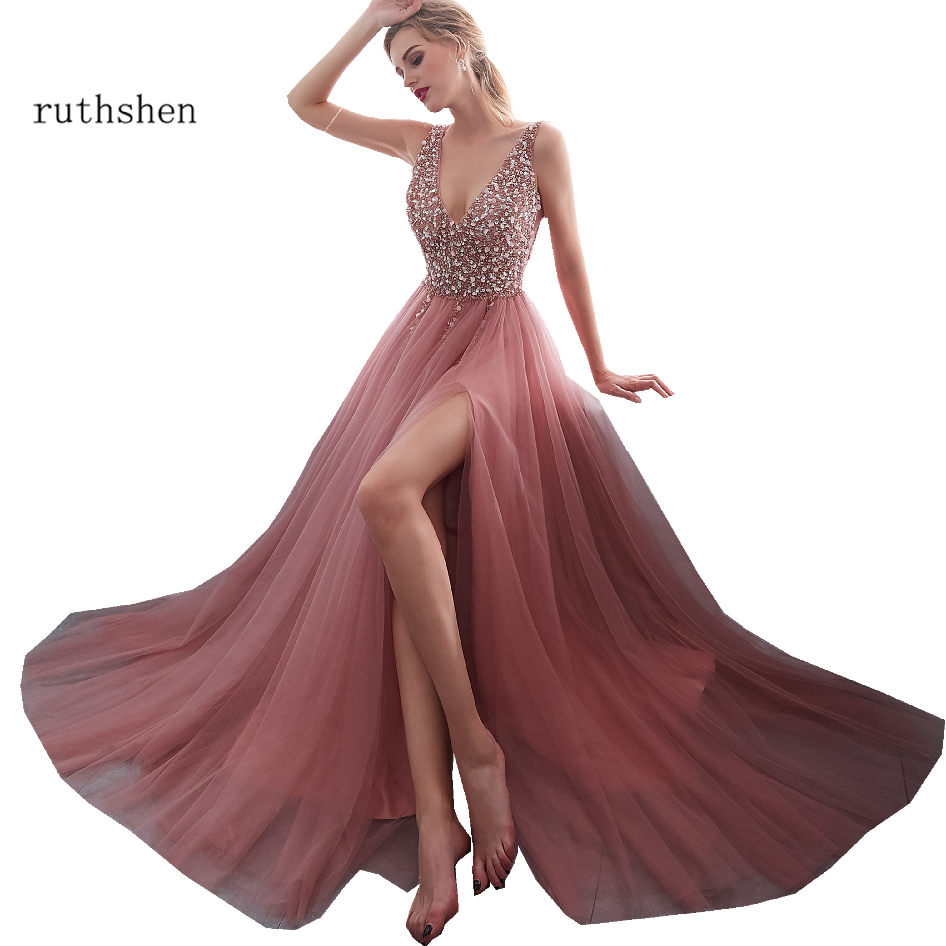 Beaded Prom Dresses 2019 New V Neck Pink High Split Tulle Evening Gown Long Formal A-Line Lace Up Backless Vestido Longo Festa