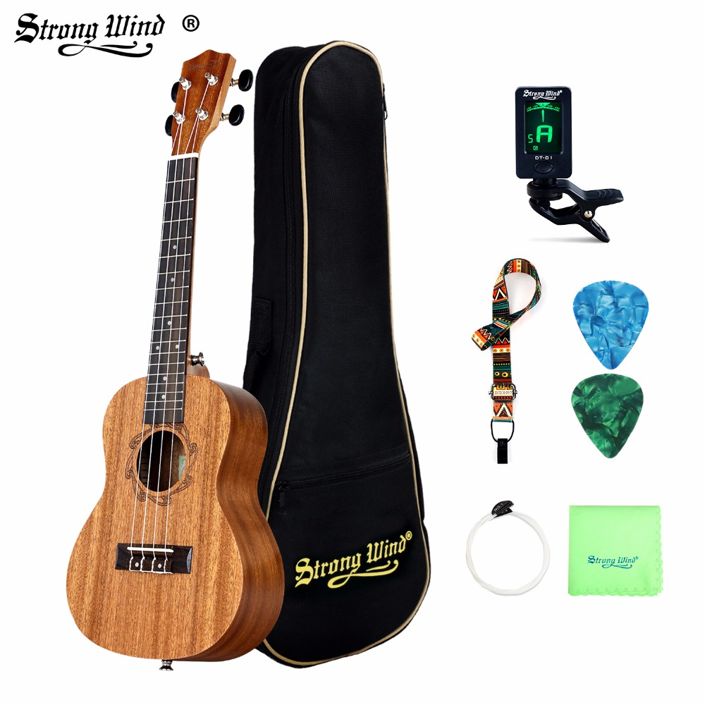 26 Inch 18 Frets Sapele Soprano Ukulele Guitar Uke Rosewood 4 Strings Hawaiian Guitar Starter Kits For Beginner With Pick Tuner ...