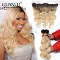 7A Ear to Ear Lace Frontal Closure With Bundles T1B/613 Blonde Brazilian Virgin Hair With Closure Body wave 13x4 Lace Frontal