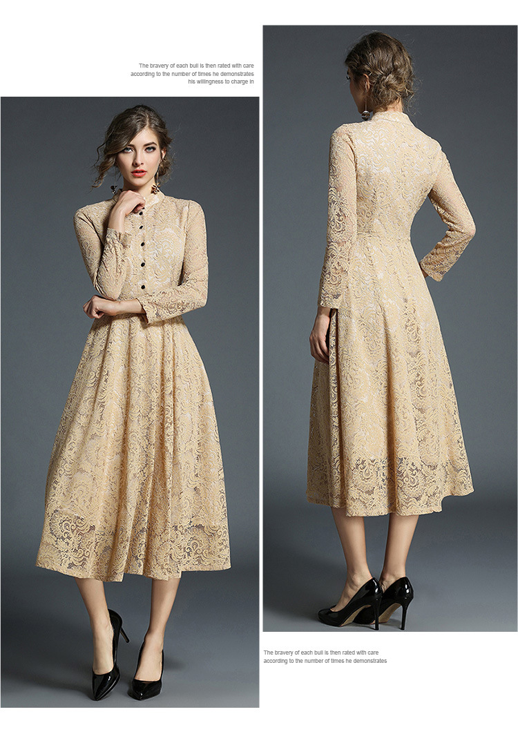 Stand Neck Long Sleeve Office Work Elegant Lace Dress 8