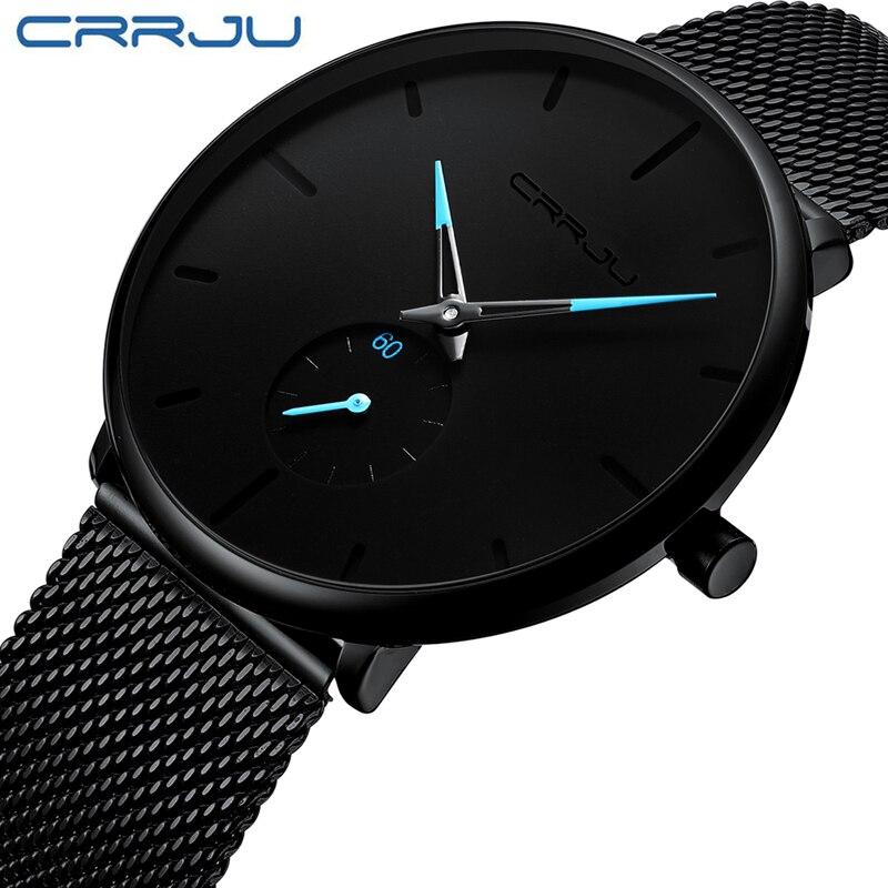 Image 5 - CRRJU mody przypadkowi męskie zegarki wodoodporna armia wojskowy Sport analogowy zegarek kwarcowy zegarek na rękę dla mężczyzn zegar na prezent Relogio MasculinoZegarki kwarcowe   -