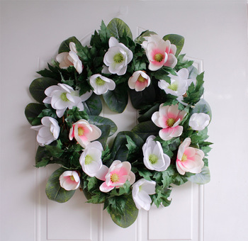 Summer simulation Magnolia flower Garland Welcome Front Door Wreath Home decoration Housewarming Festival celebration Gifts