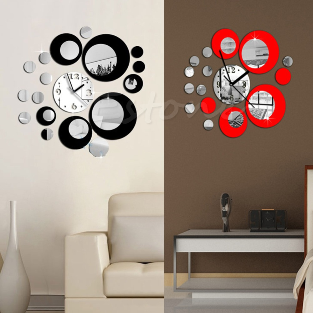 compare prices on circle wall mirror online shoppingbuy low  - new modern circles acrylic mirror style wall clock removable decal artsticker decor for tv setting