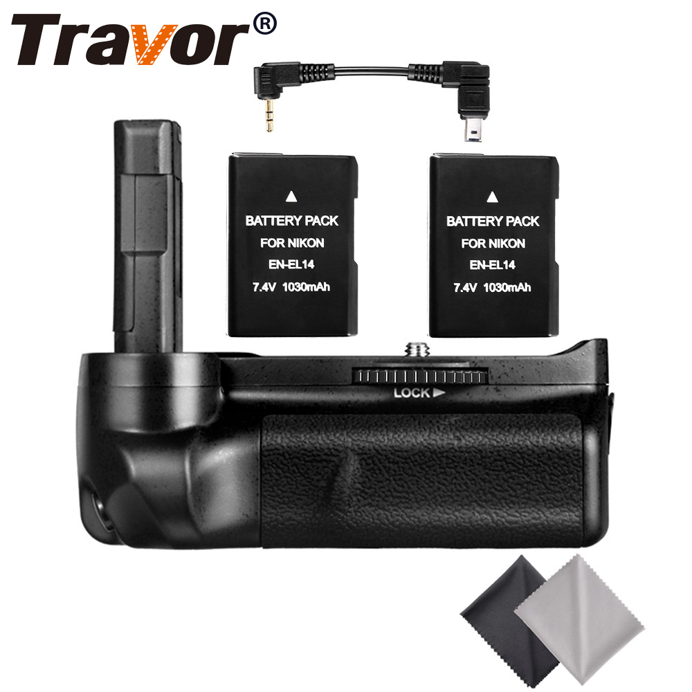 Professional Multi Power Battery Grip for Nikon D3300 D3200 D3100 DSLR Camera+2pcs EN-EL14 battery +2pcs Lens Cloth new vertical battery grip pack 2x en el14 decoded battery for nikon d3100 d3200 d3300 camera 2 step shutter free shipping