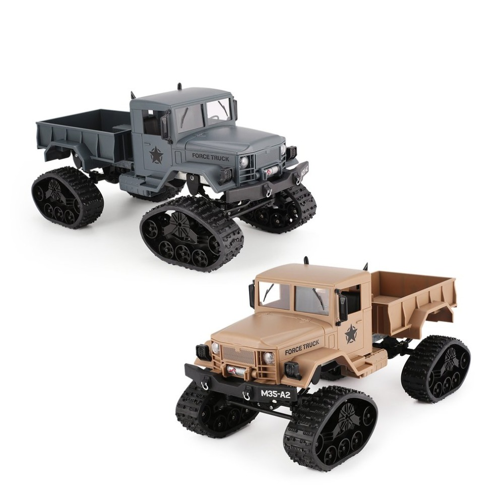 OCDAY FY001B 2.4Ghz 1/16 4WD Caterpillar Off-road RC Military Truck Climber Crawler RC Car with Front Light for Kids Toy Gift