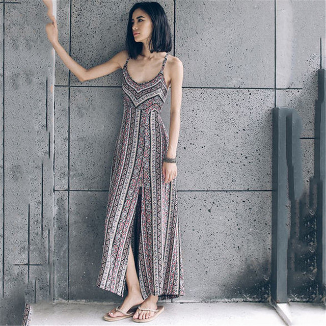 2019 women spring and summer beach mori girldress sexy maxi printing bohemian backless falda strping loose floor dress A1008