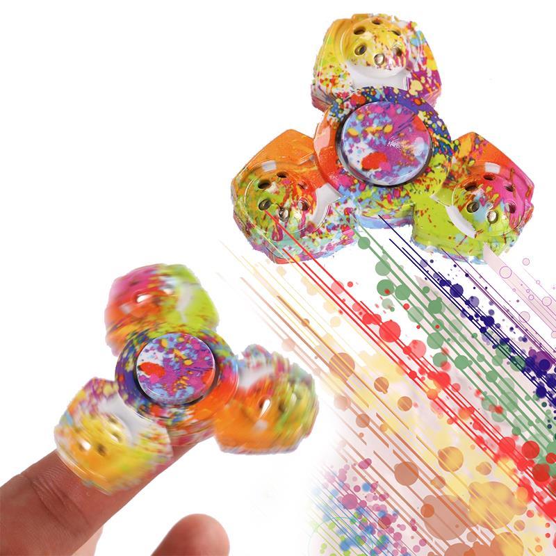 New Colorful Tri-Spinner Fidget Ceramic EDC Hand Finger Spinner Desk Focus Toy