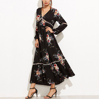 Wonder Beauty Vintage Elegant V Neck Long Sleeved Print Floral Dress Women Boho Beach Vestido Longo