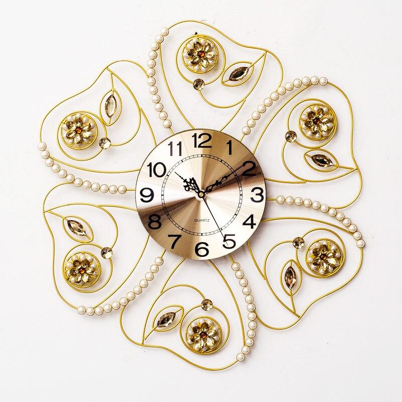 TUDA2017 катальпа стружки благородный жемчуг ShanZuan yakeli, настенные часы из кованого железа, гостиная тихо горизонтальные часы