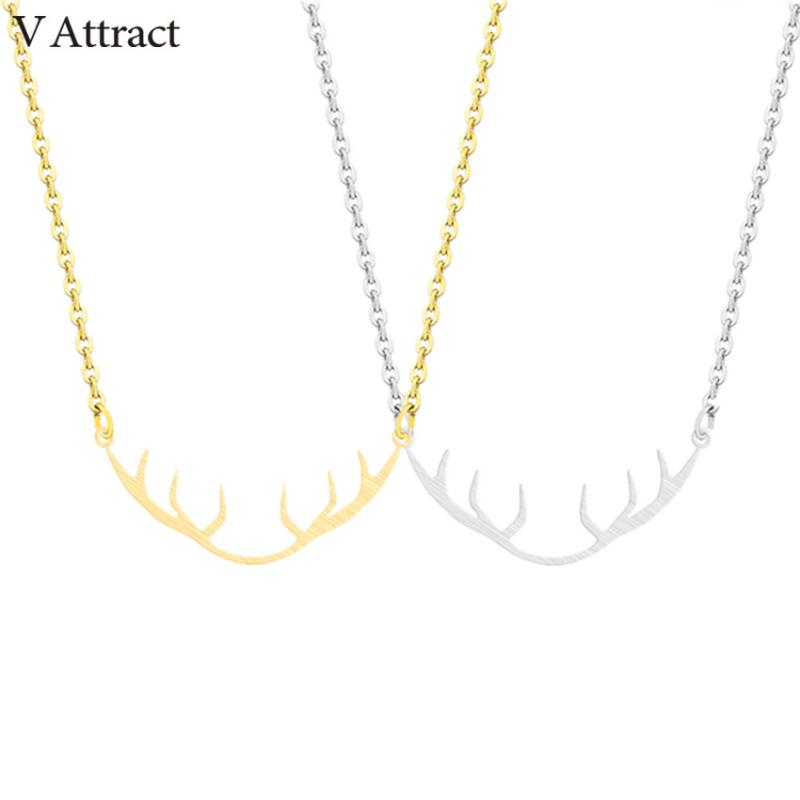 V Attract 10PCS Stainless Steel Jewelry Bohemian Deer Antler Necklace Pendant For Women Gold Long Chain Choker Femme Collar image