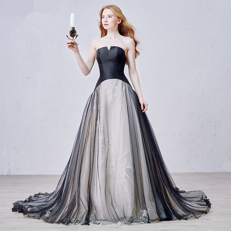 OMYW0031 Strapless Two Tone Lace Layered Skirt Black And White Wedding Dresses In From Weddings Events On Aliexpress