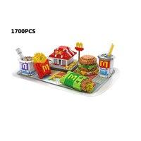 Creator Delicious food micro diamond building block mcdonalds store hamburger meal cola Fries nanoblock bricks toys collection