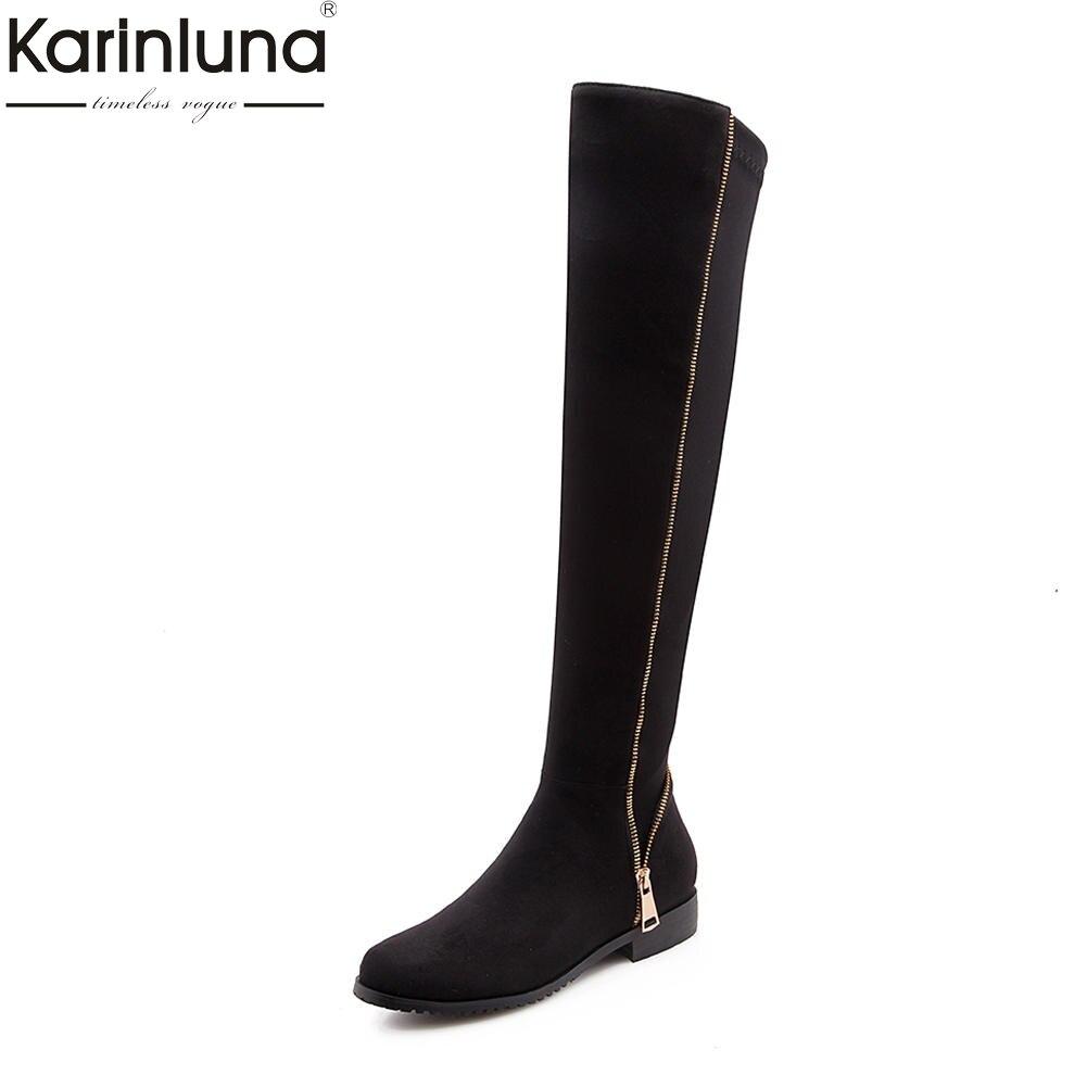 Karinluna 2018 Plus Size 34 43 fashion zipper design Shoes Woman Boots Winter Black Gray Hot