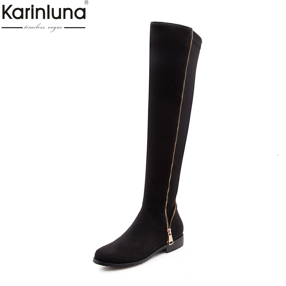 Karinluna 2018 Plus Size 34-43 fashion zipper design Shoes Woman Boots Winter Black Gray Hot Sale Over The Knee Boots Female plus size zipper up pockets design hoodie