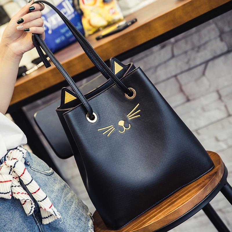 Aresland Sailor Moon Bucket bag Luna Style Cat Ladies Hand Bags Kitty Cat Bag Women Messenger Crossbody Tote Bag Bucket