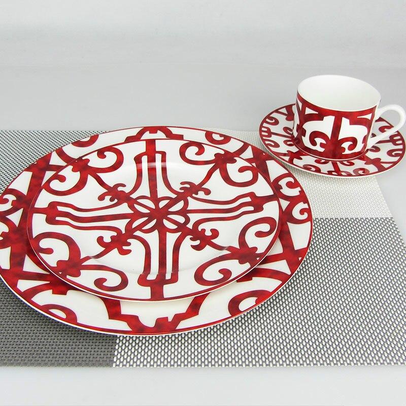 Bone China Dinner Plate Spanish Red Grid Dish Art Design Plate Dinnerware Sets