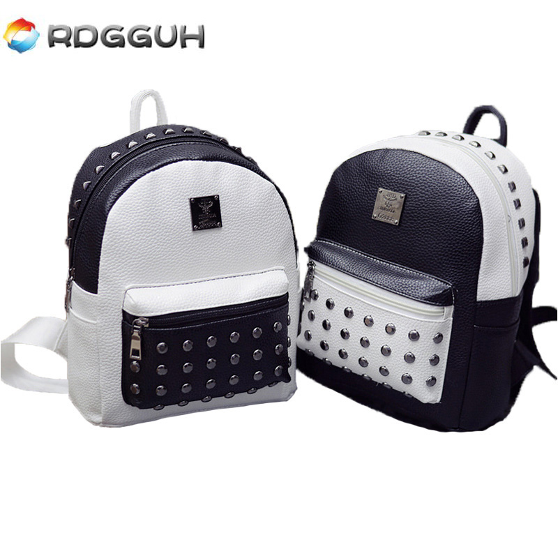 RDGGUH Fashion Black White Zipper Backpack Rivet Leather Women Backpacks Mini School Bags Teen Girls Small Travel Bag mochila squirrel fashion rivet punk nylon with leather english style girls backpacks doodle classic vogue popular cute women travel bag