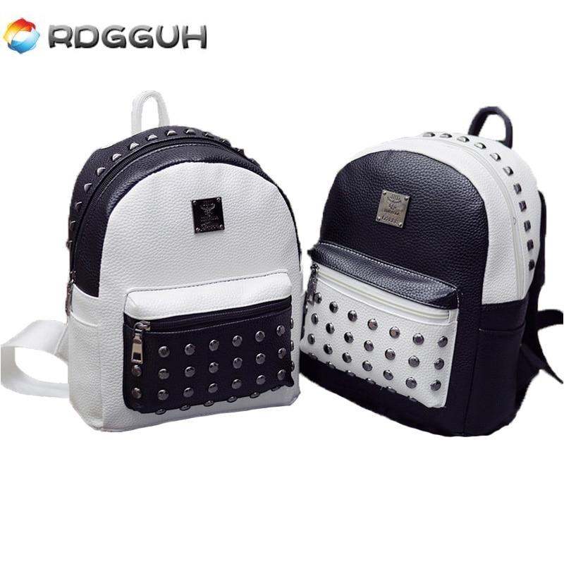 купить RDGGUH Fashion Black White Zipper Backpack Rivet Leather Women Backpacks Mini School Bags Teen Girls Small Travel Bag mochila по цене 989.8 рублей