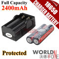 18650 Charger + 2PCS TrustFire Genuine Full Capacity 2400mAh 18650 with Protected PCB Li-ion Rechargeable Battery (WF-BC27)