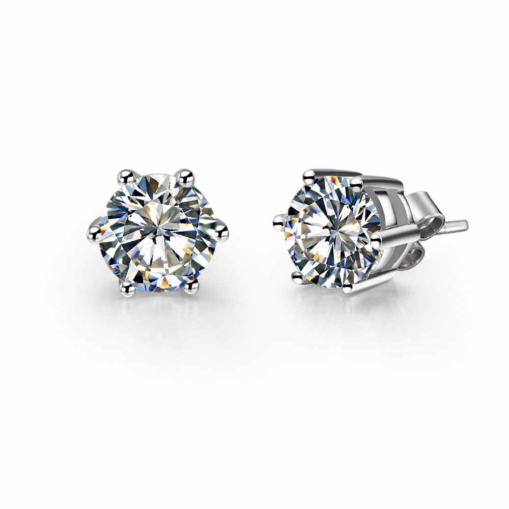CHARLES & COLVARD 0.5Ct each 5mm G-H Moissanite Diamond Stud Earrings 925 Sterling Silver Earring for Her Women Wedding Jewelry