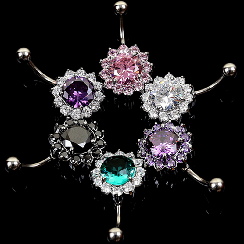 1 pcs Punk Style PFlower Steel Zircon Crystal Navel Belly Ring Button Body Jewelry For Man Women Studs 1.5mm stick Free Shipping