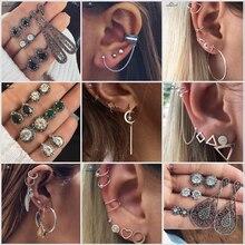 Only 1 Set Star Leaf X Cross Moon Heart Bijoux Earrings Cute Ear Piercing Helix Tragus Fake Nose Ring Pircing Oreja