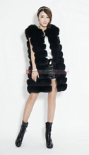 Fox fur vest fur coat women horizontal stripe casual sweater vest long design