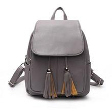 Кисточкой бренды женщины PU школьная сумка дорожная кожа Рюкзаки для подростков Обувь для девочек Повседневное женственный Для женщин Рюкзаки