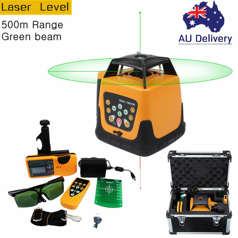 (Ship from AU) Automatic Green Beam Rotary Rotating Laser 500m Range Self-leveling Rotary Laser Level Remote Control With Case thyssen parts leveling sensor yg 39g1k door zone switch leveling photoelectric sensors