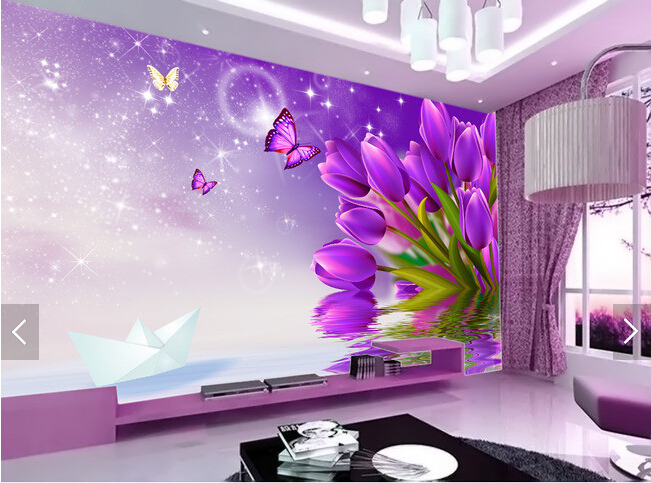 Custom Floral Wallpaper Purple Tulips 3d Photo Mural For