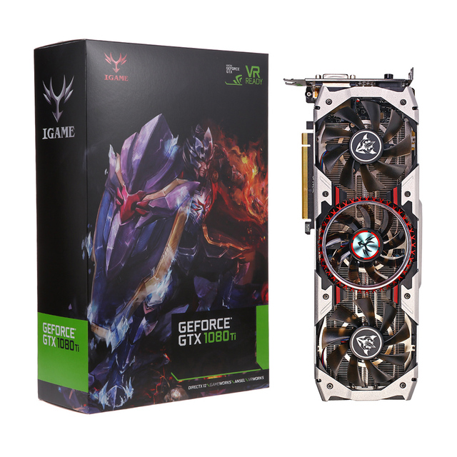 Colorful iGame GTX1080Ti Vulcan AD Video Graphics Card 1594/1683MHz 11GB GDDR5 352bit PCI-E 3.0 DirectX 12 VR Ready Cooling Fans