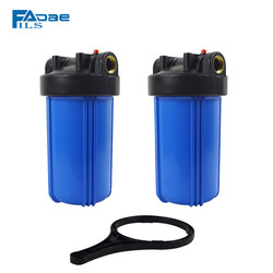 2 x Whole house heavy duty Big Blue Filter Housing,1 brass insert ,10in. L x 4-1/2 OD include one Wrench