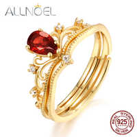 ALLNOEL Solitary 925 Sterling Silver Stackable Ring For Women 6*4mm Natural Mozambic Garnet Ring Wedding Band Fine Jewelry New