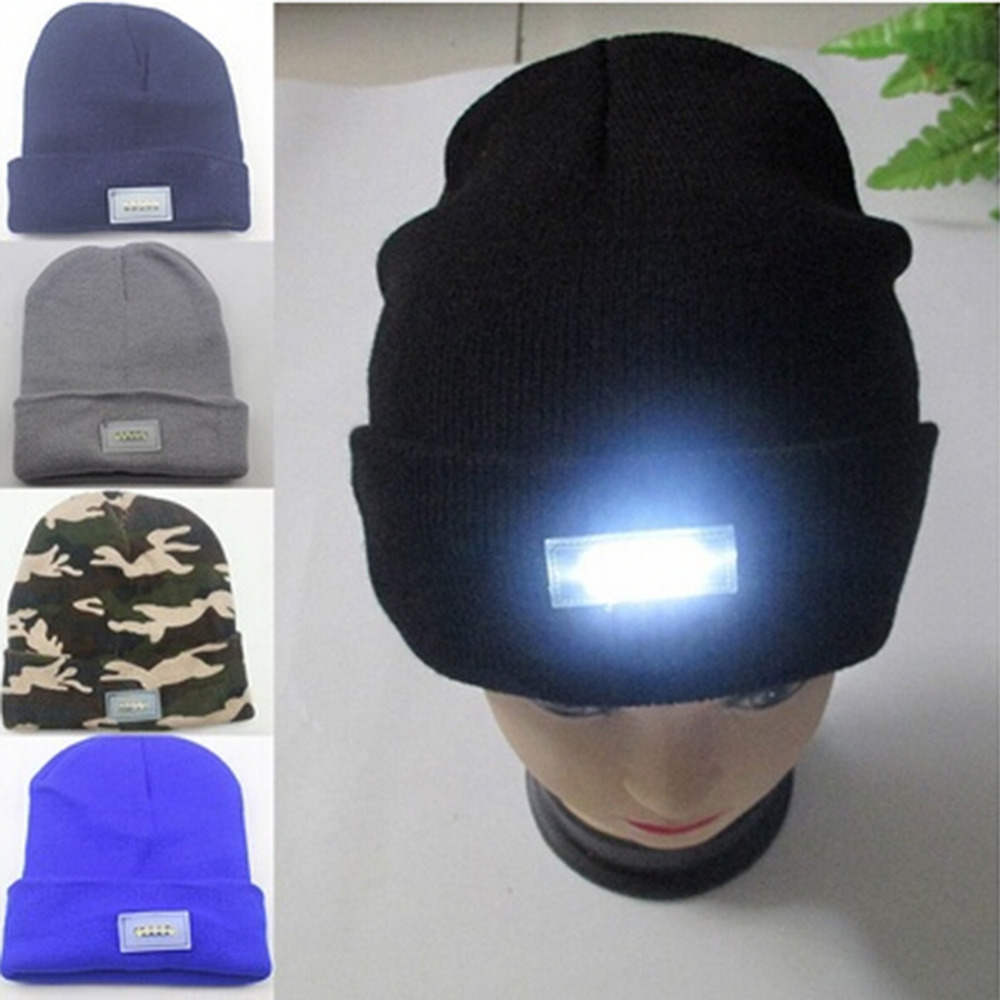 Novelty Unisex Skullies Beanies LED Lighted Cap Beanie For Night Angling Camping Hat 5 Colors for your choice ...
