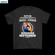 GILDAN Never Underestimate A Nasty man Born In September Shirts(China)