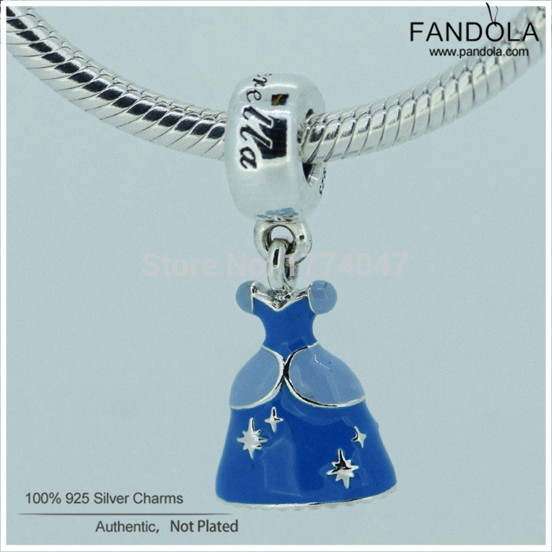 100% 925 Sterling Silver Cinderella Dress Blue Enamel Dangle Charm Beads for Jewelry Making Fits Original Charms Bracelet100% 925 Sterling Silver Cinderella Dress Blue Enamel Dangle Charm Beads for Jewelry Making Fits Original Charms Bracelet