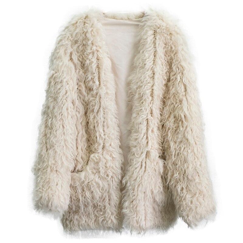 D'hiver Mode Chaud Veste Froid Femmes Arrivent De Longue Temps Agneau Femelle Fourrure Nouveau Au Par Outwear Manteau Mouton Tricoté Poche np0nZ