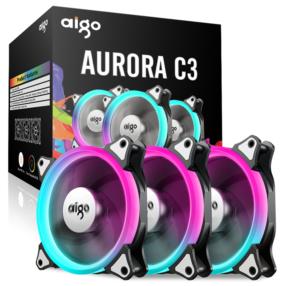 Aigo C3 3 Pack PC Computer Case Cooler Cooling RGB LED 120 mm Low Noise High Airflow Adjustable Colour LED Fan aigo c3 c5 fan pc computer case cooler cooling fan led 120 mm fans mute rgb case fans