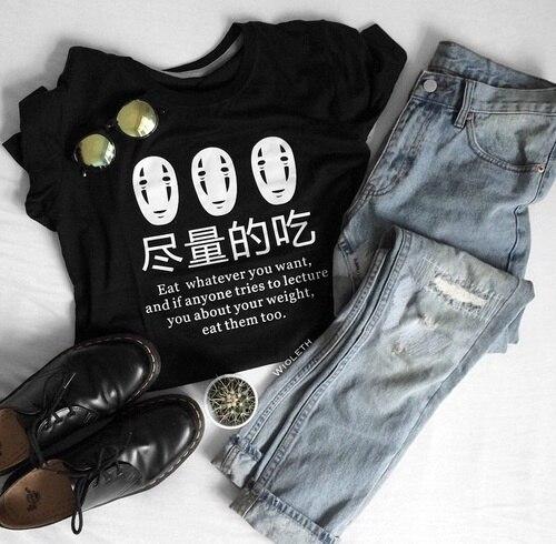 Nhật bản Anime Ăn Bất Cứ Điều Gì Bạn Muốn Vui Câu Nói T-Shirt Phụ Nữ Thời Trang Harajuku Dễ Thương Casual Đen Tee thẩm mỹ tumblr tops